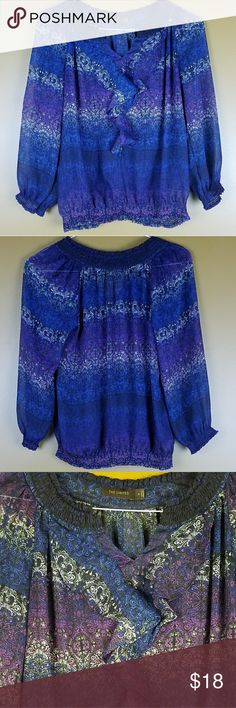 [The Limited] Black and Blue Sheer Ruffle Blouse Cute loose-fitting blouse in black, blue, and purple. Ruffle front. Elastic waist. Sheer. Bust: 17.5, Length: 24, Sleeves: 21 inches. Great condition. Add to bundle to save! (AA2) The Limited Tops Blouses