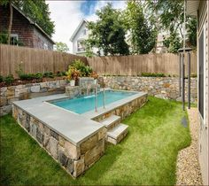 An above ground swimming pool version is making owning one more feasible. An above ground swimming pool come in two shapes. Pools For Small Yards, Backyard Ideas For Small Yards, Small Swimming Pools, Backyard Pool Designs, Above Ground Swimming Pools, Swimming Pools Backyard, Pool Spa, Small Backyard Landscaping, Swimming Pool Designs