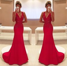 Sexy Prom Dress,Sleeveless V Neck Red Evening Dress,Long
