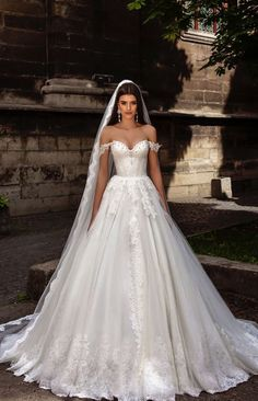 Off-The-Shoulder Lace Embroidered Wedding Dress TM Crystal Design