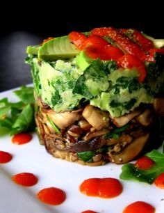 Compressed Wild Mushrooms & Avocado with Red Pepper Coulis - Raw Food Rehab  MUST. TRY. THIS. Like immediately! (; Shoot, I'd need mushrooms - again, haha!