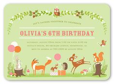 Gathering Forest 5x7 Invitation Card | Birthday Invitations | Shutterfly I love this card! It would be so fun to do a woodland creature party for one of my girls!