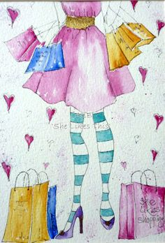 Who doesn't like shopping original watercolour by shelikesthis, £30.00