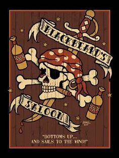 "Blackbeards Saloon Metal Sign: Pirate Decor Wall Accent by OMSC. $19.50. Eco-friendly process, hand-made in the USA. Ships in Ploy-bag for complete protection. Glossy, full-color, enamalized imaged baked onto thick, 24-gauge steel. Rounded corners with holes for easy hanging. This sign measures 16"" x 12"" (400 mm x 300 mm). The ""Blackbeards Saloon Metal Sign"" is hand-made in America. These sturdy metal signs will perfectly accent any kitchen, home, bar, pub, game room, o..."