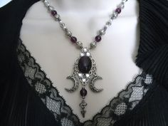Hecates Protection Goddess Necklace, wiccan jewelry pagan occult witchcraft metaphysical gypsy witch wicca renaissance. $32.00, via Etsy.