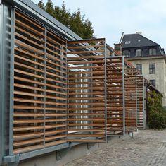 Pergola With Retractable Canopy Key: 8840828043 Exterior Blinds, Window Shutters Exterior, Outdoor Shutters, Metal Shutters, Louvered Shutters, Metal Facade, Design Museum Copenhagen, Modern Exterior, Exterior Design