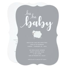 Lamb Theme Baby Shower Invitation - invitations personalize custom special event invitation idea style party card cards