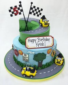 Vroom, vroom! Can't wait for cake time at this birthday! #desserts #cakes #birthday #happybirthday #racecar #cars #finishline #SweetSisters