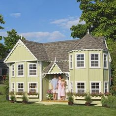 Little Cottage Sara Victorian 10 x 18 Mansion Wood Playhouse For Kids  WOW!!!