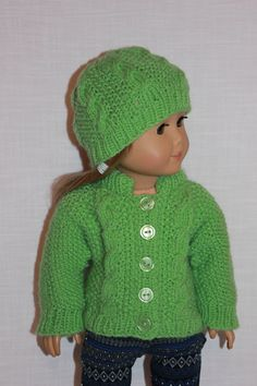 18 inch doll clothes, hand knit green sweater with cables, green hand knit hat with cables, Upbeat petites by UpbeatPetites on Etsy