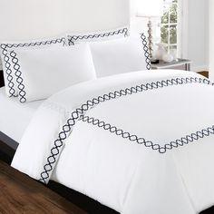 Echelon Home Quatrefoil Embroidery 300 Thread Count Cotton Sheet Set Color: Zinc, Size: California King Bed Cover Design, Bed Linen Design, Cotton Sheet Sets, Bed Sheet Sets, Draps Design, Country Stil, French Country, Designer Bed Sheets, Bed Sets
