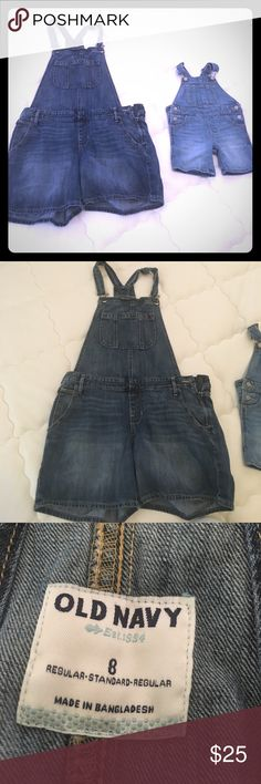 Matching mommy & baby girl shorts denim overalls Only worn once . Smoke free home . Other