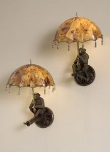 Monkey Sconces with Parasol Shades by Maitland Smith Furniture
