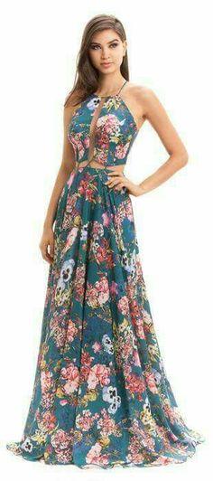 Spaghetti Strap Hollow Out Printed Maxi Dress Dresses Elegant, Beautiful Dresses, Casual Dresses, Summer Dresses, Formal Dresses, Dress Skirt, Dress Up, Shirt Skirt, Dress Outfits