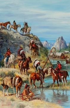 """Hubert Wackermann > Meeting At The Oregon Trail - Shoshone""༺ ♠ ༻*ŦƶȠ*༺ ♠ ༻"