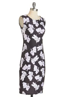 Take Me to Trunky Town Dress. Get movin and groovin in this quirky black bodycon dress. #black #modcloth