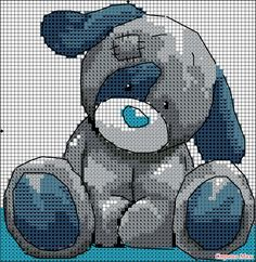 Cross-stitch Puppy.. no color chart available, just use pattern chart as you color guide... or choose your own colors.