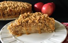 Apple-packed coffee cake topped with spiced streusel topping and homemade salted caramel drizzle