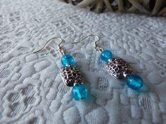 Boucles d'oreilles en argent 925 perles craquelées et perle plaquée argent : Boucles d'oreille par axellecreations