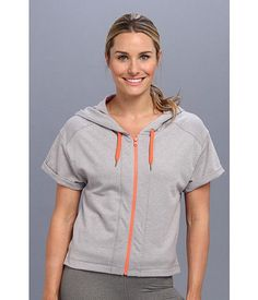 NWT Lucy Activewear Daily Practice Hoodie Short Sleeve Gray Orange size Large  | eBay