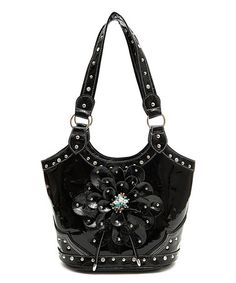 Another great find on #zulily! Black Floral Stud Shoulder Bag #zulilyfinds