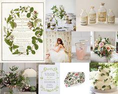 Board #578 | Vintage Botanical Jasmine Vine Mood: vintage garden romance Palette: vine green, parchment paper, pink jasmine