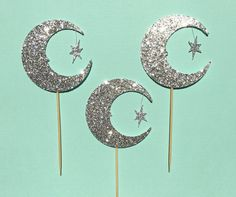 Moon and Star Cupcake Toppers   I Love You To The Moon and Back Cupcake Toppers   Glitter Cupcake Toppers   Baby Shower Cupcake Toppers