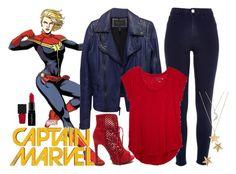 Carol Danvers: Captain Marvel by fashion-nova on Polyvore featuring polyvore fashion style LOFT BCBGMAXAZRIA River Island Everlasting Gold Marc Jacobs Smashbox Gucci clothing