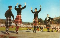 Braemar Highland Games. Male Dancers are Charlie Mill 2nd left. Billy Forsyth on right. Dancer facing Charlie is Alan Cameron.
