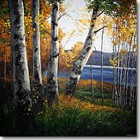 Morning on the Lake - Aspen Painting, Birch Trees, Contemporary Aspen Art - Wald Contemporary Landscape, Contemporary Paintings, Landscape Art, Landscape Paintings, Landscapes, Magic Forest, Forest Art, Lake Painting, Painting Canvas