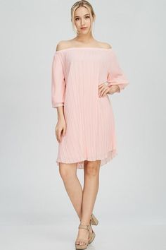 Piper Pleated Off Shoulder Dress