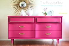 This Pink & Gold Dresser from Papaya Tree is kinda awesome! You know how I love a great DIY inspiration and this is a perfect one for refinishing any old cool piece of furniture with a bright paint color and gold (or metallic) accent!