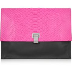 Proenza Schouler Lunch Bag neon python and leather clutch found on Polyvore
