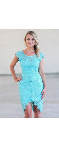 Lily Boutique Torey Eyelash Lace High Low Sheath Dress in Turquoise, $46…