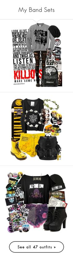 """My Band Sets"" by neverland-is-just-a-dream-away ❤ liked on Polyvore featuring Hot Topic, Tripp, AllSaints, Deathwish, Dr. Martens, Givenchy, Glamour Kills, Darkstar, Runwaydreamz and Converse"