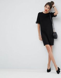 ASOS T-Shirt Dress In Ponte With Lace Frill Sleeve