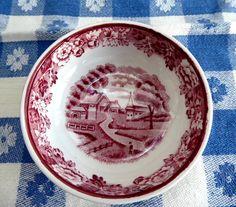 Red Transferware English Scenery Open Salt 1940s Enoch Woods Woods Ware Rural Scene