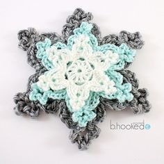 Crochet Flowers Patterns Holiday Snowflakes, free pattern and video tutorial byB.Hooked Crochet - Learn how to crochet snowflakes with this quick and easy pattern and video tutorial from B. Crochet Motifs, Crochet Flower Patterns, Crochet Flowers, Crochet Stitches, Crochet Appliques, Crochet Amigurumi, Diy Crochet, Crochet Crafts, Crochet Projects