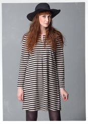Dress with basic stripes in eco-cotton