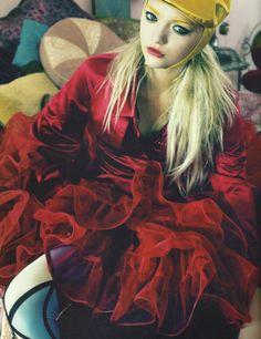 Gemma Ward by Emma Summerton. Editorial photo.  Crimson silk blouse, petticoat.