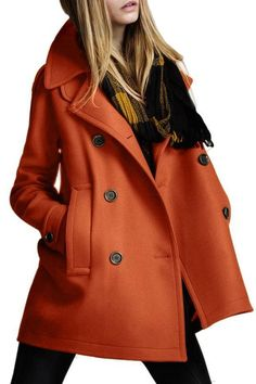 Double-Breasted Pocket Woolen Coat