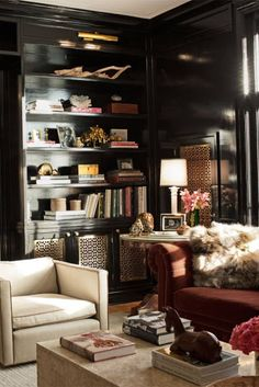 Those black lacquer walls! Chicago home of Sasha Adler - with Nate Berkus Associate - featured in Elle