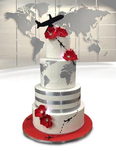 Travel around the world with Cake Central Travel around the world with Cake Central Beautiful Wedding Cakes, Beautiful Cakes, Suitcase Cake, Aviation Wedding, Travel Cake, Cake Central, Take The Cake, Iftar, Travel Themes