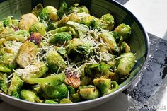 Brussel sprouts sauteed with lemon and garlic and topped with an Italian cheese blend.