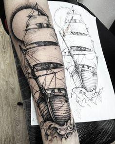 awesome Tattoo Trends - Корабль для Максима.... еще #Regram via Daria Morgan...