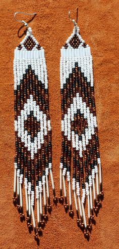 """Native beaded earrings with porcupine quills, 7""""long, hand made by Suzanne Flumerfelt in Yukon, Canada"""