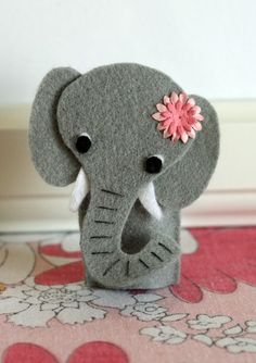 Made from super-soft wool blend felt, these cute finger puppets can be glued or stitched together, and are simple enough for even the smallest Felt Puppets, Felt Finger Puppets, Hand Puppets, Cute Crafts, Felt Crafts, Kids Crafts, Finger Puppet Patterns, Elephant Crafts, Felt Books