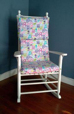Rocking Chair Cushion Pink Forest Owls Chevron By RockinCushions, $75.00