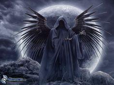 dunkel Sensenmann, schwarzen Flügeln, Mond, Tod