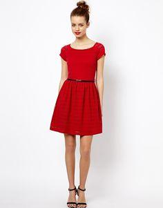 New Look | New Look Lace Cap Sleeve Dress at ASOS